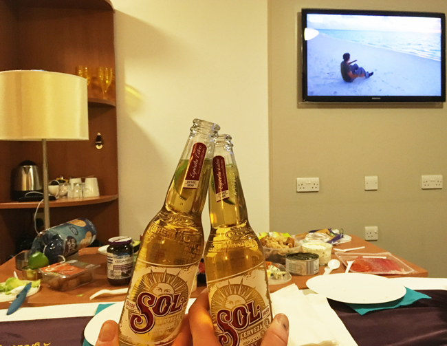 Honouring our hotel picnic tradition - nibbles laid out on the repurposed tea tray, beers chilled in the window cavity and a travel show on the TV. Bliss.
