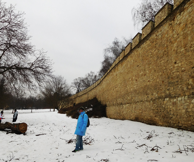 Crunching snow underfoot as we walk the Hunger Wall.