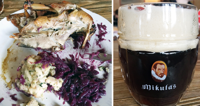 Roast duck, vegetable dumplings, red cabbage and a dark lager...meal fit for a Bohemian king at Restaurace Dačický in Kutna Hora.