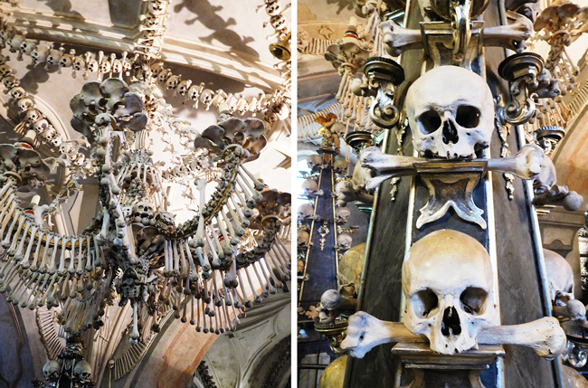 Sedlec Ossuary's famous chandelier looms above while it's hard not to make eye-contact with the past directly before your eyes.