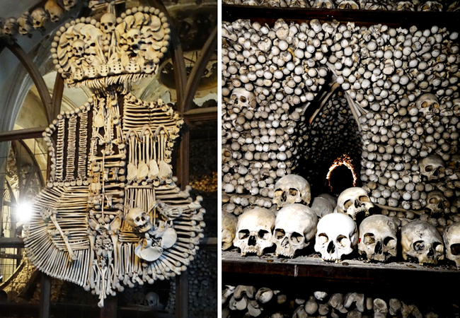 Bones of willing donars as decoration in the Sedlec Ossuary.