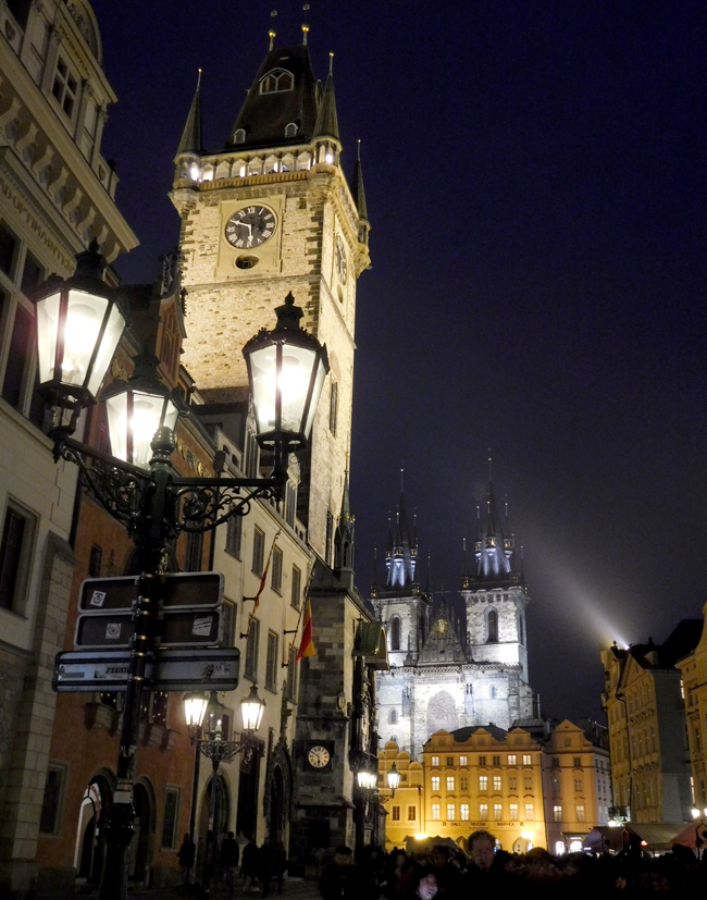 The magic of darkness lets the glow of street lights bouncing off old stone warm my history-loving heart. Old Town Hall and Tyn Church beaming at night.