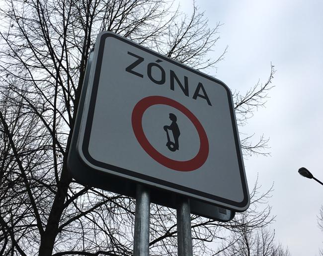 Segway zone sign in Prague