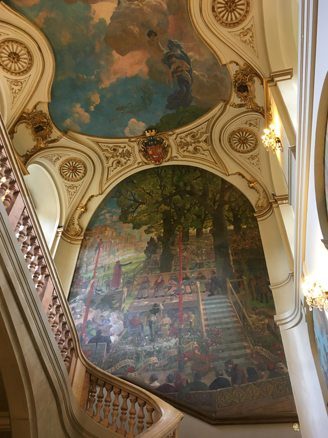 The magnificent staircase mural of the Capitole.