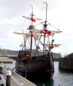 Ye olde worlde booze cruising galleon in Funchal harbour