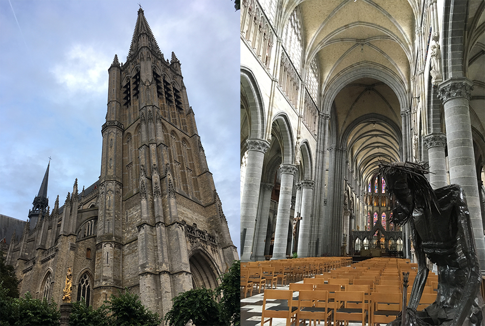 St Martin's Cathedral, built from 1230 to 1370, heavily bombed in the war and rebuilt between 1922-1930. A bright and airy nave houses modern sculptures alongside the requisite dramatic religious icons