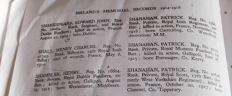 I found my paternal grandmother's name – Shanahan and poor Patrick (top right) who was killed on 10 November 1918. Just one more day.