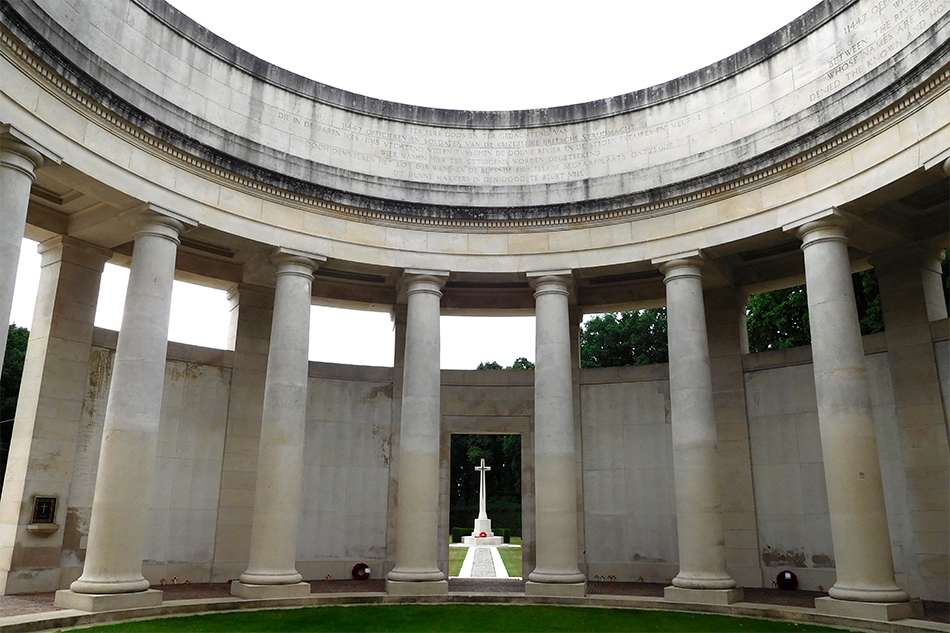 Ploegsteert Memorial to the Missing bears over 11,000 names of UK and South African soldiers of WW1 with no known grave.