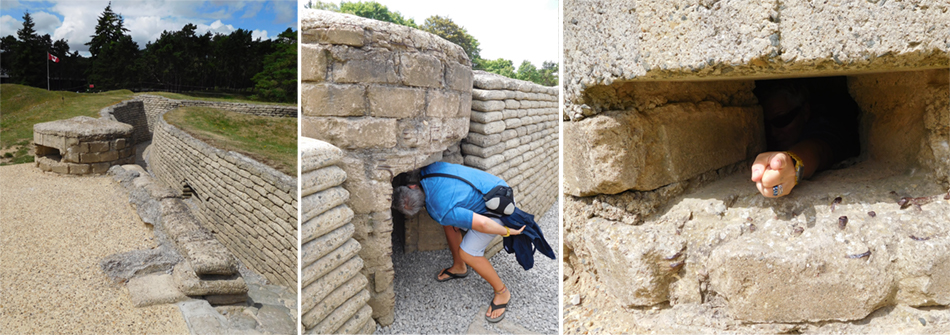Preserved front line trenches with sniper position. The sandbags were preserved in place with cement as a lasting reminder.