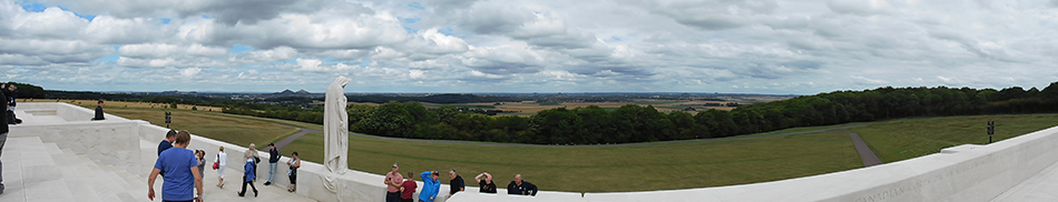 Northwest views over the Douai Plains from the Canadian National Vimy Memorial.
