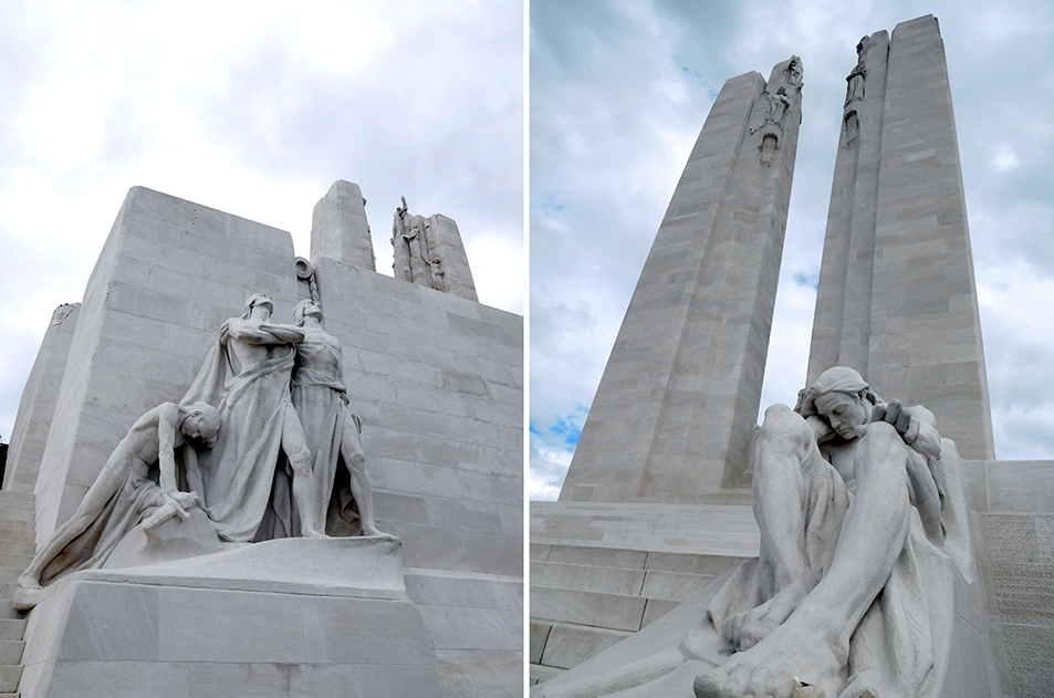 The towers rise 30 metres from the foundation, one adorned with a maple leaf, the other a fleur-de-lis. Canadian National Vimy Memorial.