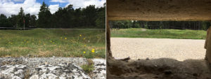Left: The view over the top of the trench into the bomb craters separating the opposing sides. Right: View from the sniper pods that punctuated the front line.