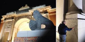 Menin Gate shines brightly at night. Shellfire has pockmarked the plinths.