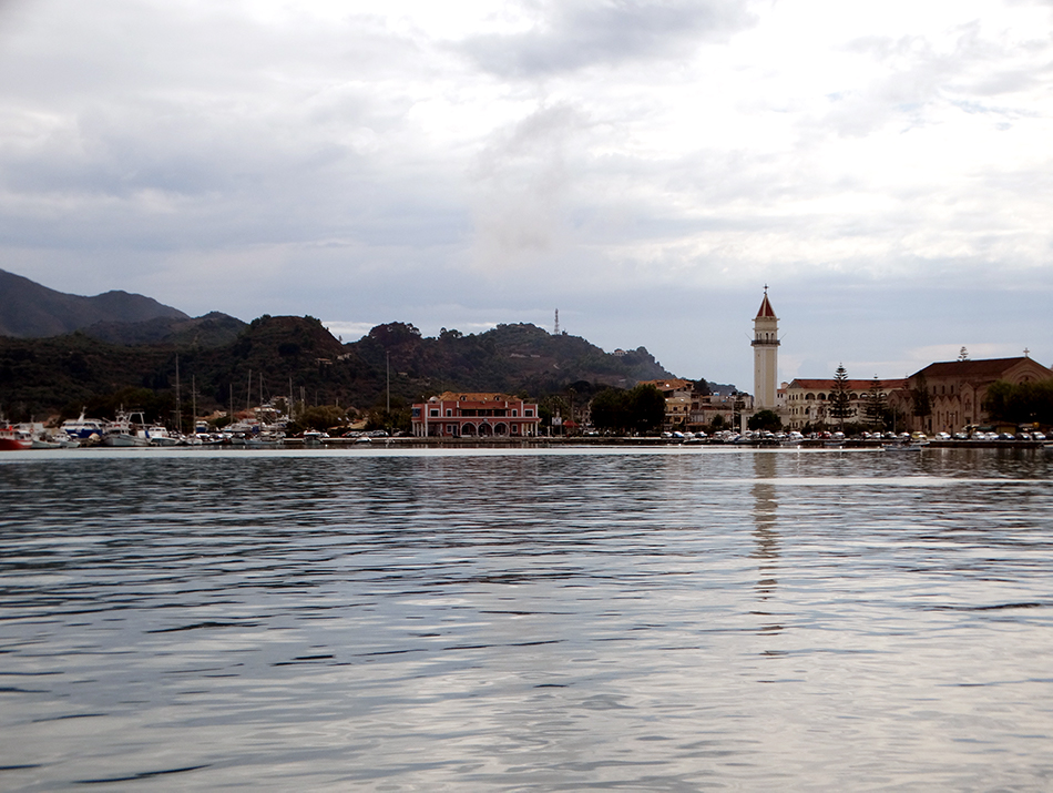 The bell tower of Agios Dionysios Church in Zakynthos Harbour dominates the town's skyline