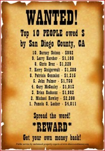 Ten Most Wanted San Diego County California Citizens for unclaimed property