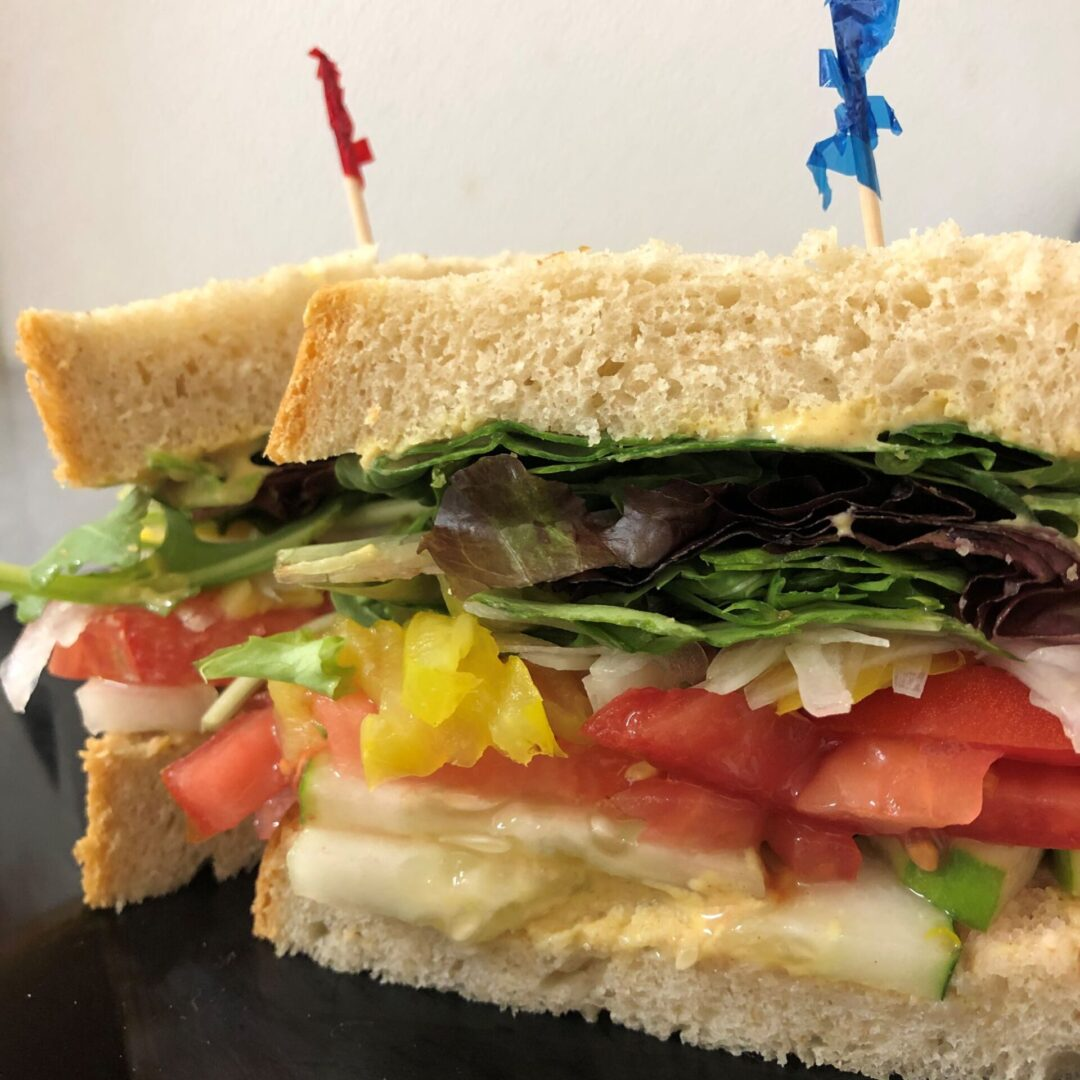 a sandwich with toothpicks