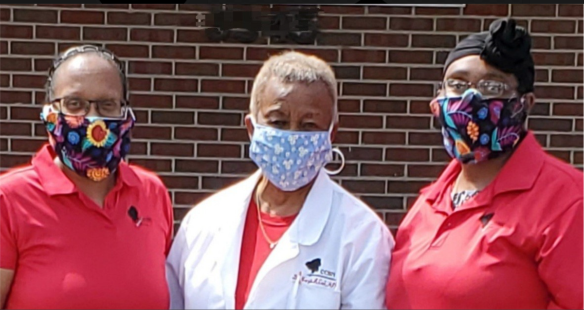 "<p style=""font-size: 15px"">Social Action: Behind the scenes of the COVID-19 pandemic, CCBN/ECCBN members making and delivering 1,000 masks to local care facilities and homeless communities.Shown: President Robin Bruce RN, Past President Margie Cook PhD, and Arabela Bruce CNA. 2020"