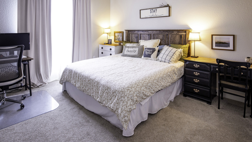 Real Estate Photography interior bedroom, guest room, natural light, interior decor, interior design, family, welcome home.