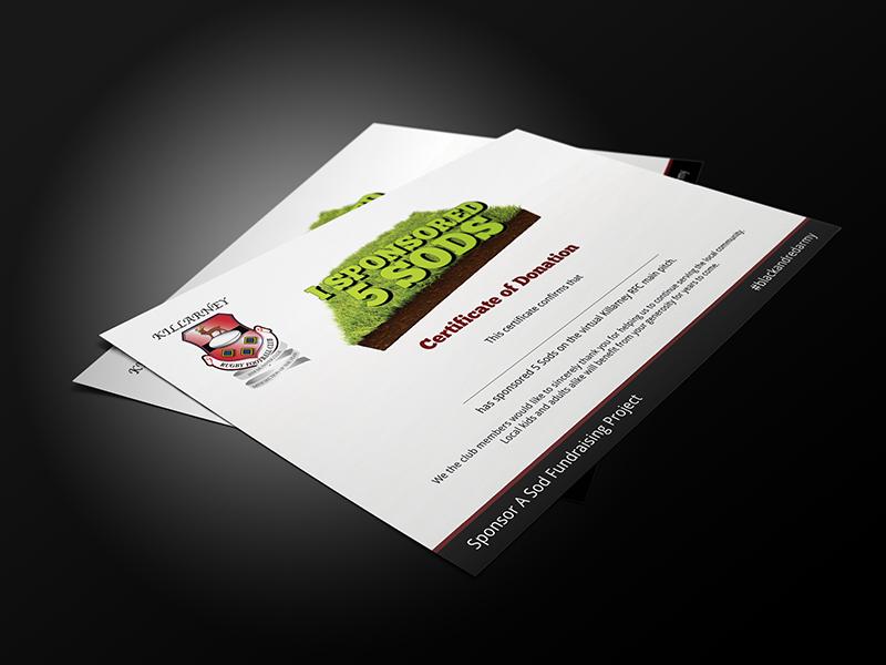 I sponsored 5 sods certificate from Killarney RFC