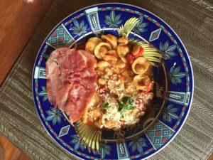 pasta, prosciutto, parmesean, dinner, comfort food, delicious