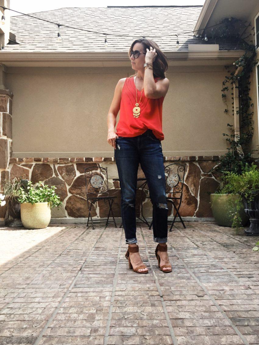 red, tank, vneck, pretty, bold, color, casual, shades, denim, heels