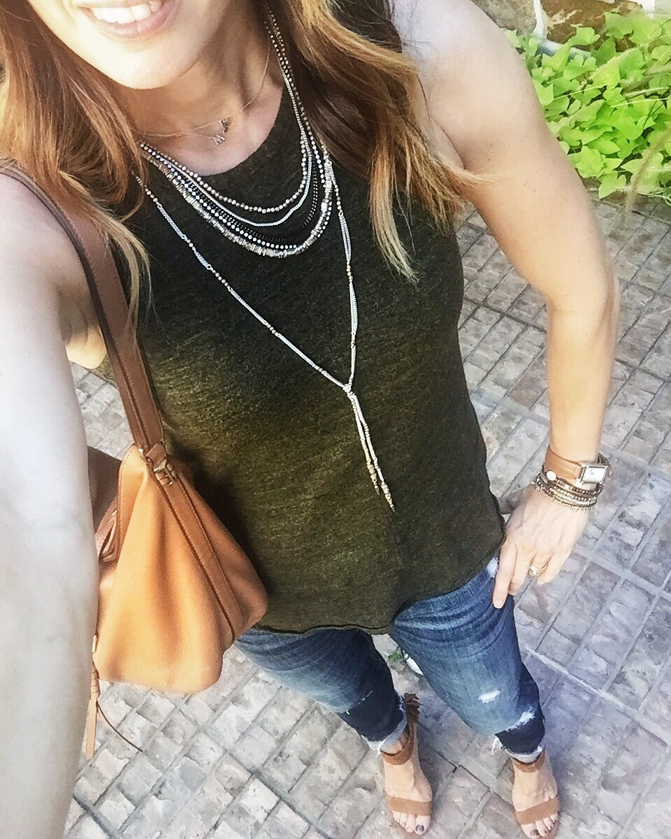 olive, tank, ripped jeans, heels, everydaystyle, casual, momstyle, accessories, layering, pretty