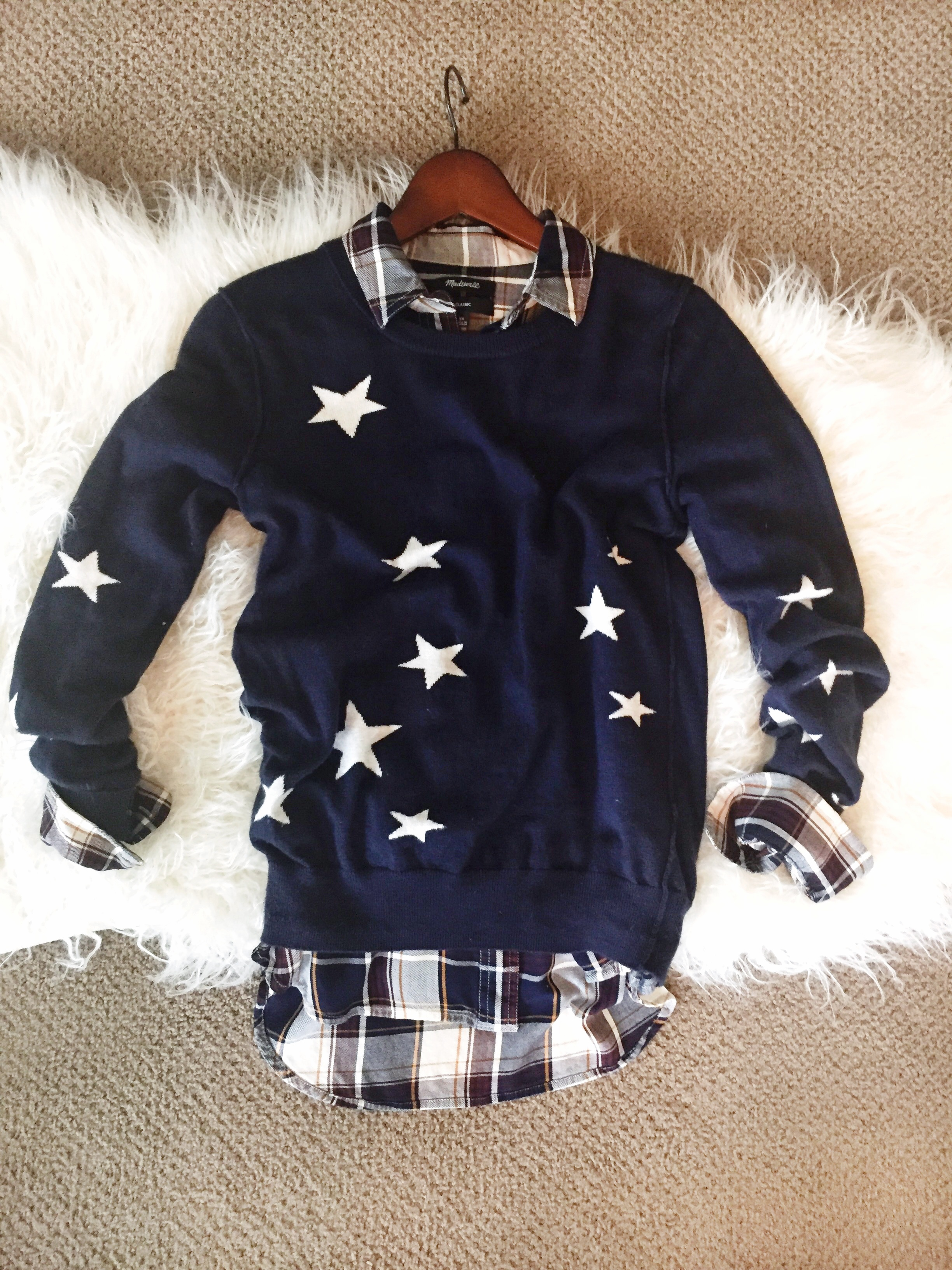 crew neck, sweaters, preppy, stars, stripes, layers, wear it, find your style, method39, navy, casual, everyday style