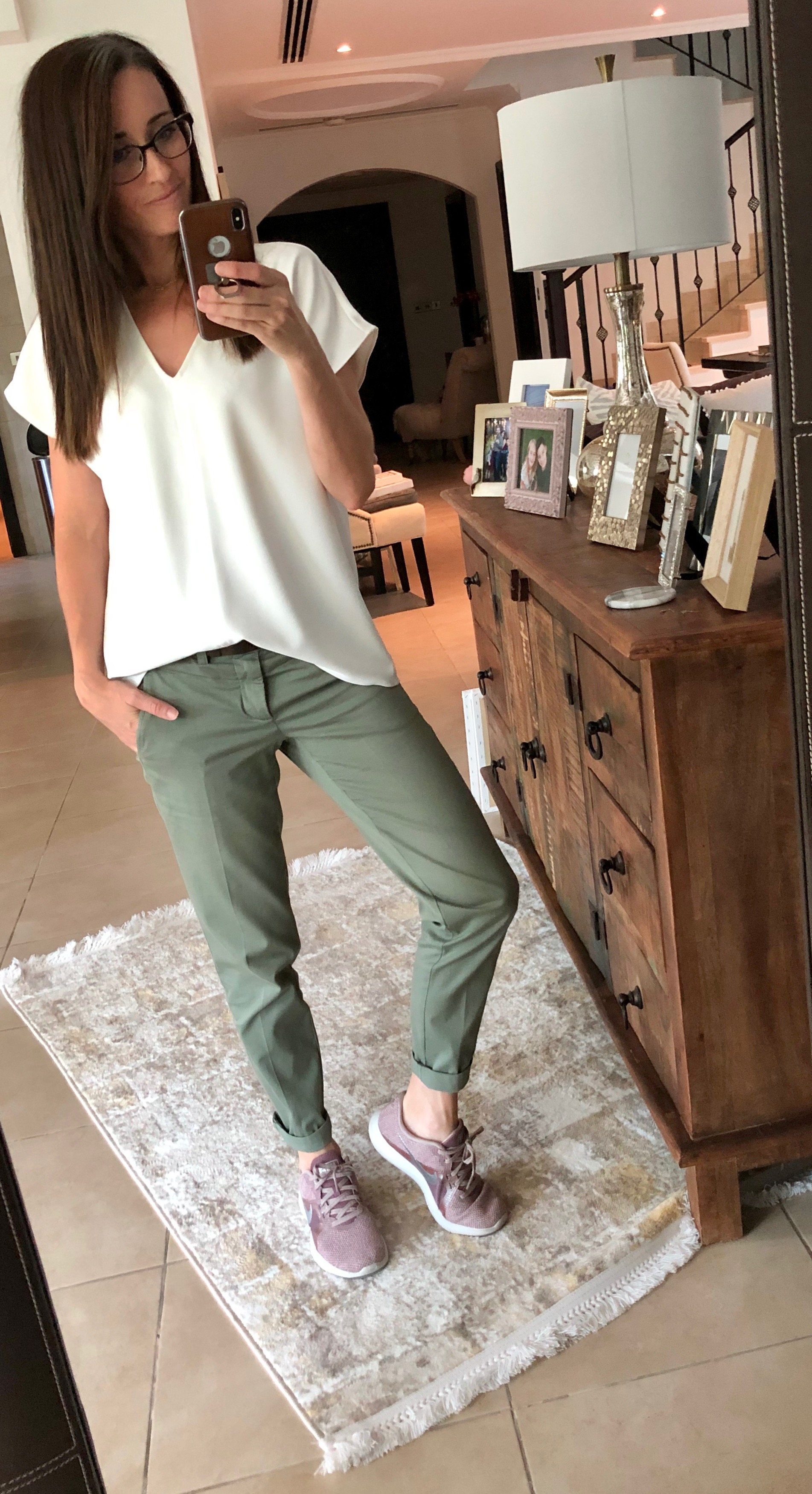 neutrals, white top, khaki pants, dressed up, dressed down, casual, everyday style, method39, style advisor, my style, wear it, as seen on me, how to get dressed, versatile wardrobe, look your best