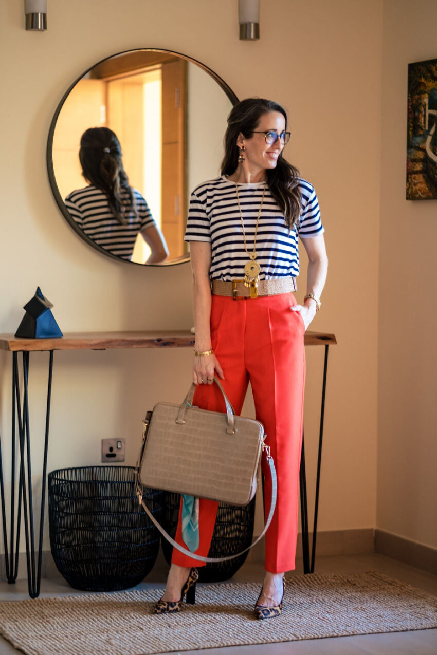 Method39, method to style, my style, navy striped t shirt, red trousers, belt, accessories, mom style, mompreneur, working, over 40 style