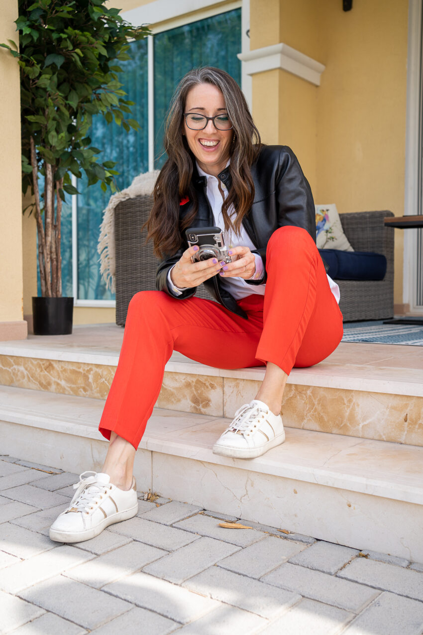 Method39, method to style, my style, building a brand, working mom, red trousers, black leather jacket, white button up, fashion sneakers, over 40 style, mompreneur, follow along,