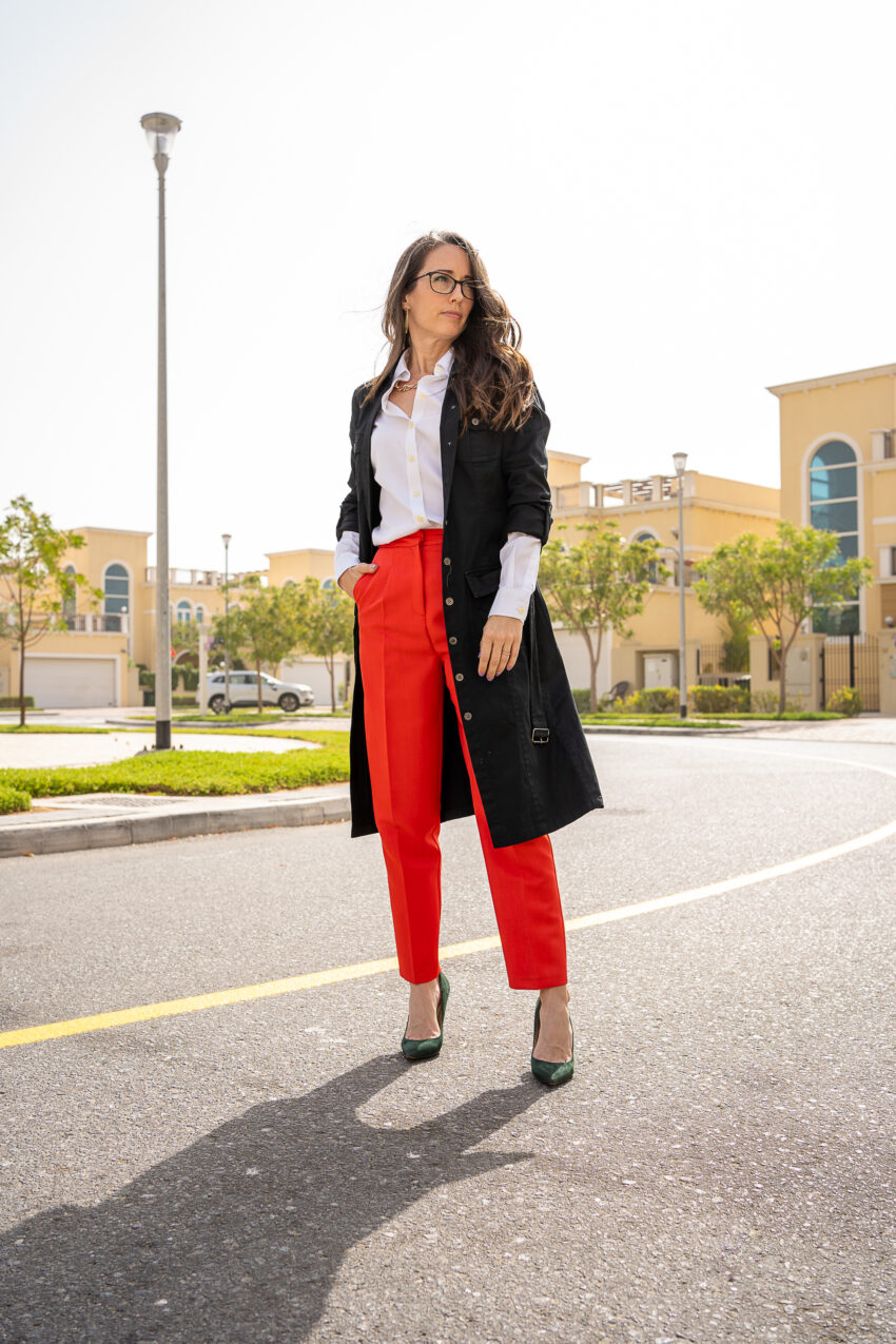 Method to style, method39, my style, red trousers, black trench coat, green heels, street style, over 40 style, mompreneur, working from home