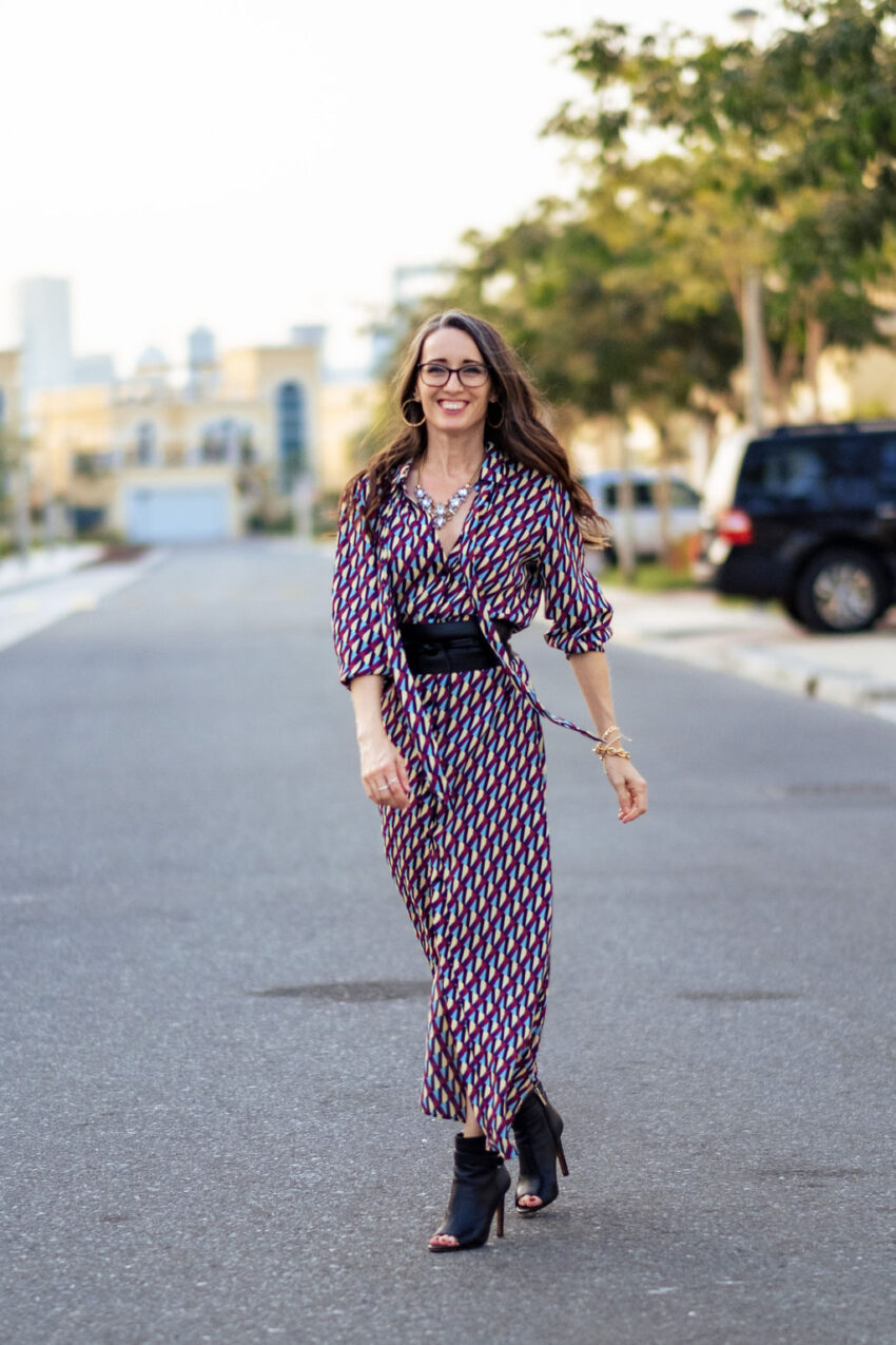 Savvy, shopper, dress, worn three ways, versatility, belt, booties, accessorize, style advice, method39, method to style, style advisor,
