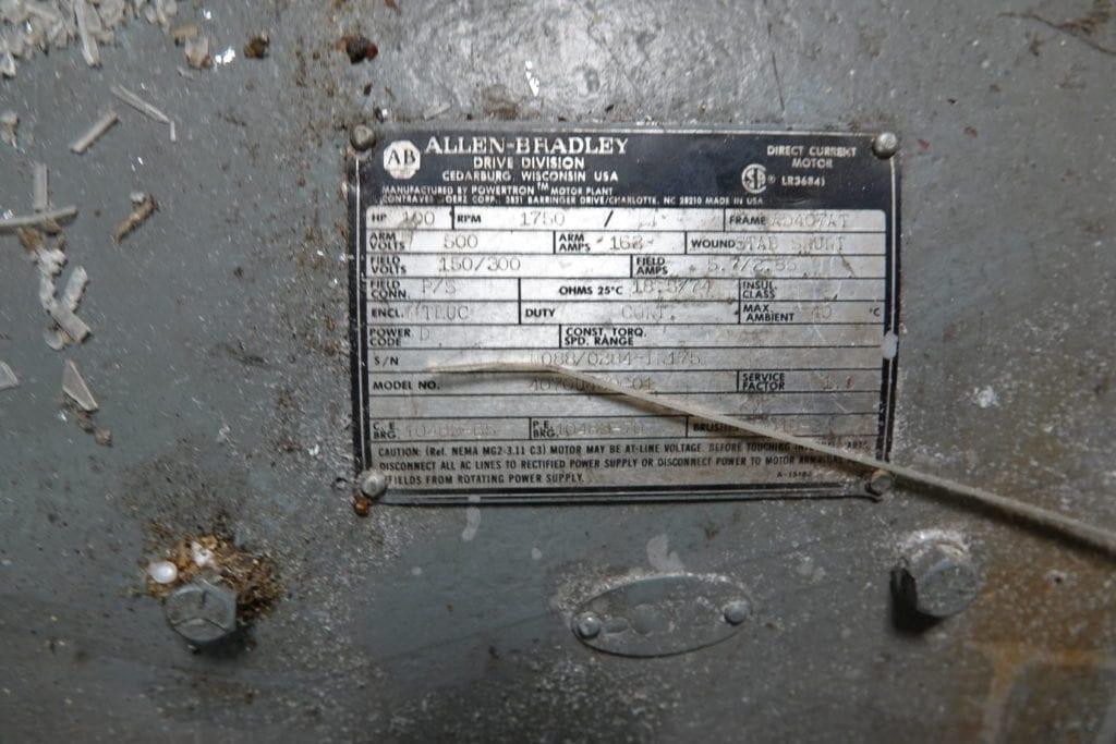 100 hp DC Allen Bradley Motor $10000 USD