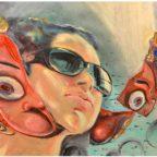 painting on reclaimed canvas, Aham Bramhasi