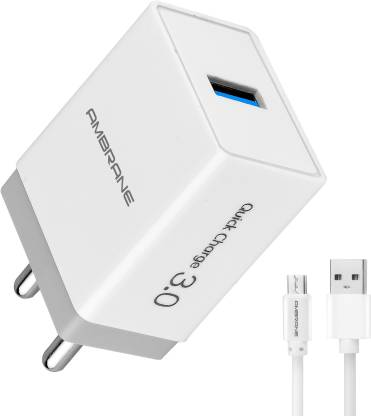 Ambrane AQC-56 3.0 Quick Charge 3 A Mobile Charger with Detachable Cable