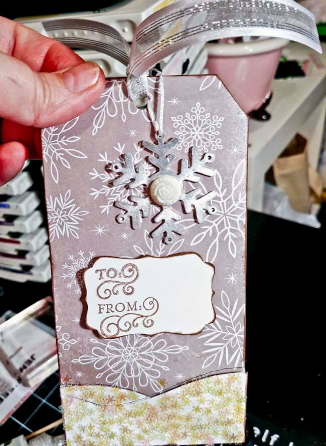 Made with scraps-Completed Snowflake tag