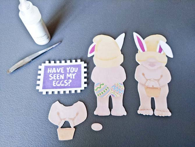 Easter naughty gnome glue on printed pieces