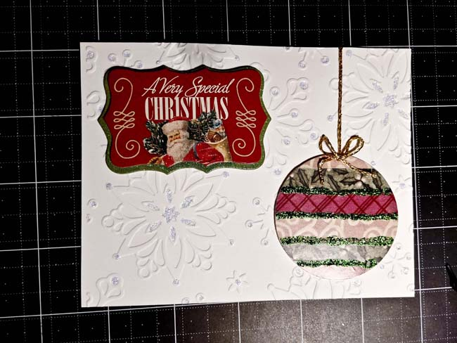 Made with scraps-Completed ornament card