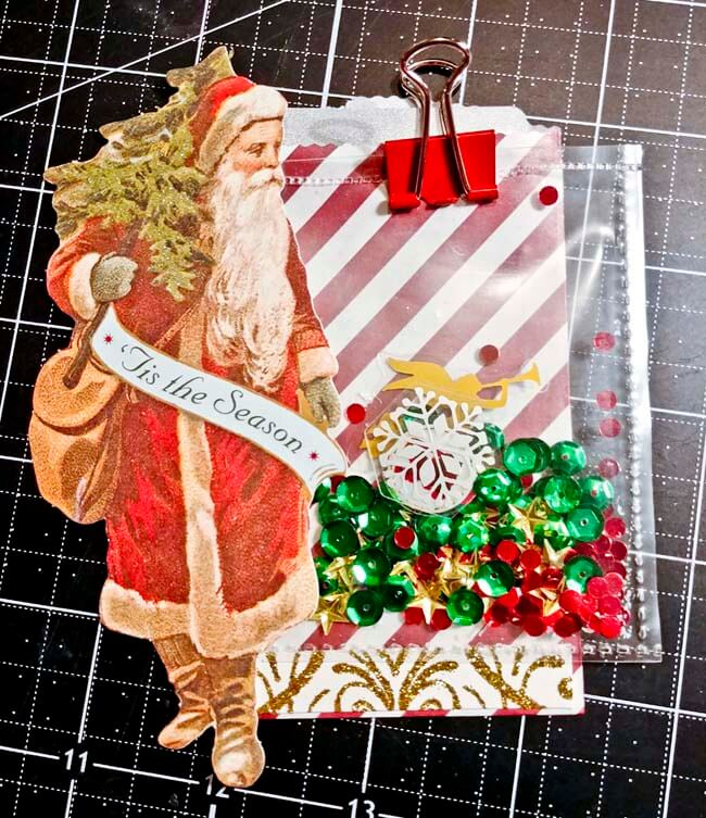Made with scraps-Completed santa shaker gift card holder