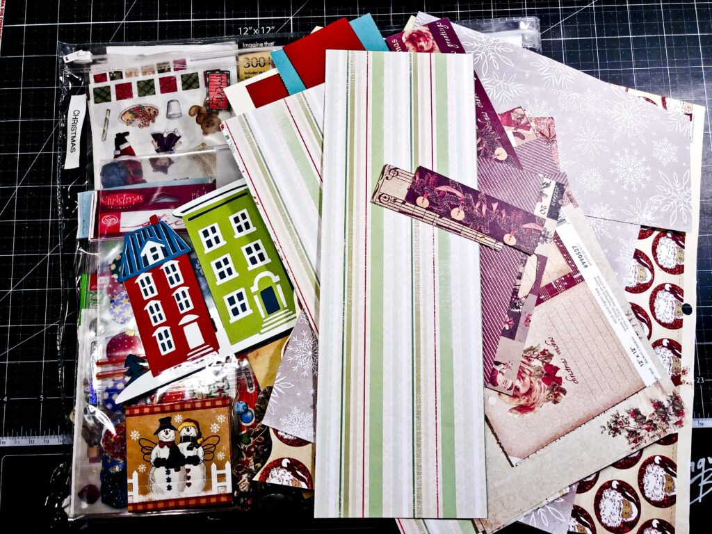 Pile of Christmas papers and scraps