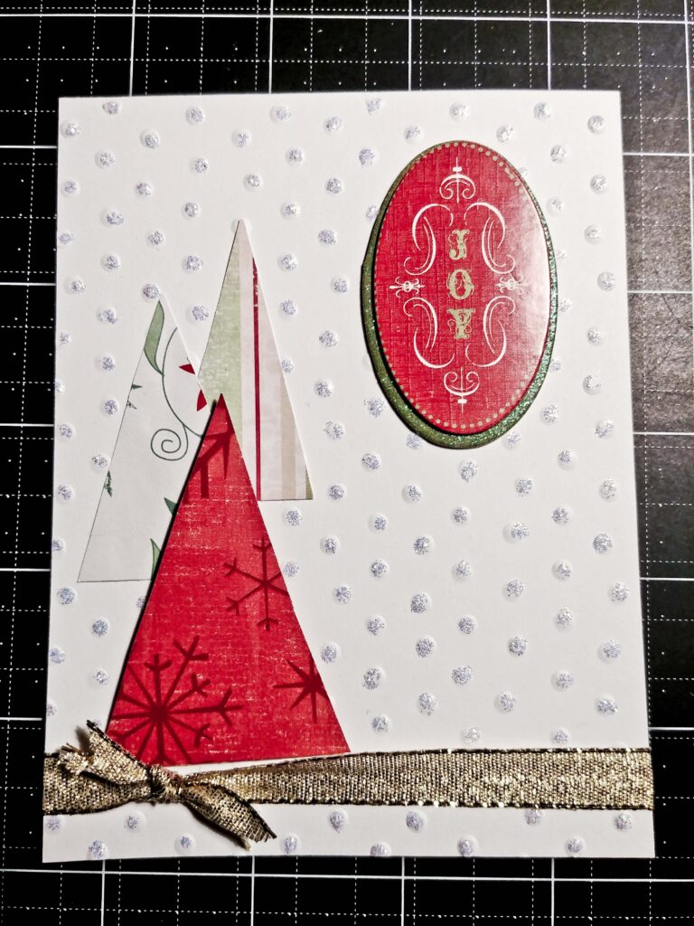 made with scraps-Completed tree card