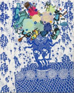 "Flourish (Lapis), 2018, monoprint, relief print collage, 25 x 19-5/8"" - unframed, Private Collection"