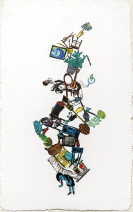 """Responsibility is Really Heavy, 2018 monoprint, relief print collage on hand made paper, 29-1/4 x 18-1/4"""" - unframed, Private Collection"""