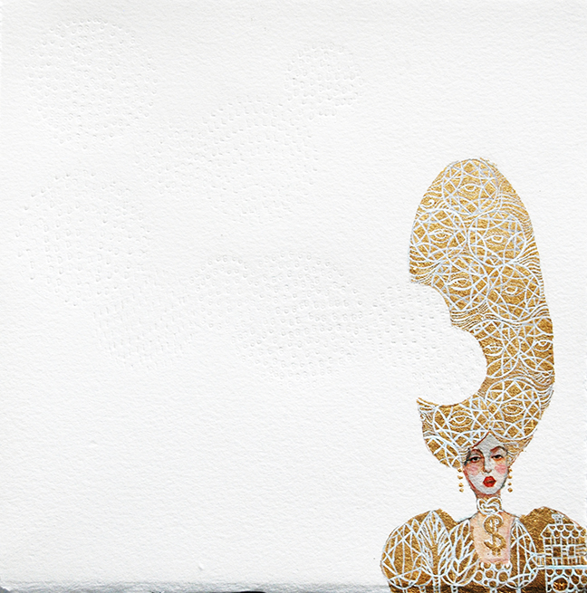 """Stephanie Mercado, Golden, 2014, acrylic and gold leaf on paper with embossed text, 14 x 14"""""""