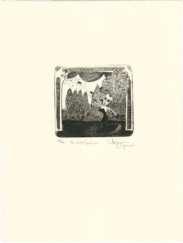 """Stephanie Mercado, The Little Sparrow, 2008 drypoint, Ed. 20 10 x 7-1/2"""""""