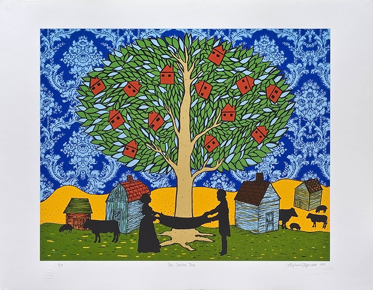 Stephanie Mercado, The Golden Tree, 2010 serigraph, Ed 70 20 x 24""