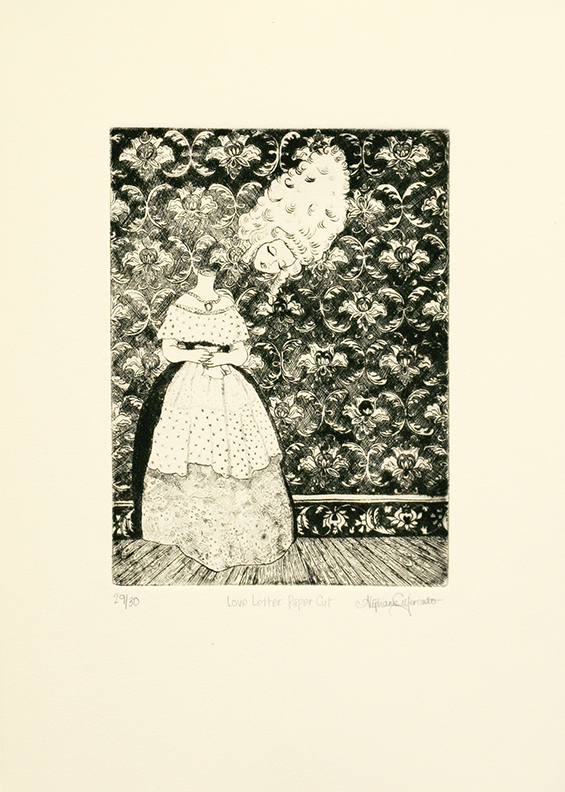 "Stephanie Mercado, Love Letter Paper Cut, 2008 drypoint, Ed. 30, 15 x 11"""