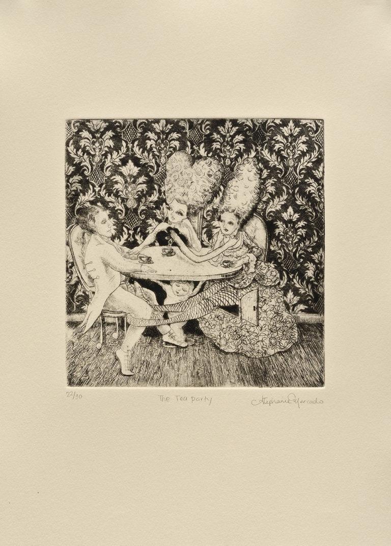 "Stephanie Mercado, The Tea Party, 2008 drypoint, Ed. 30 14 x 11"""