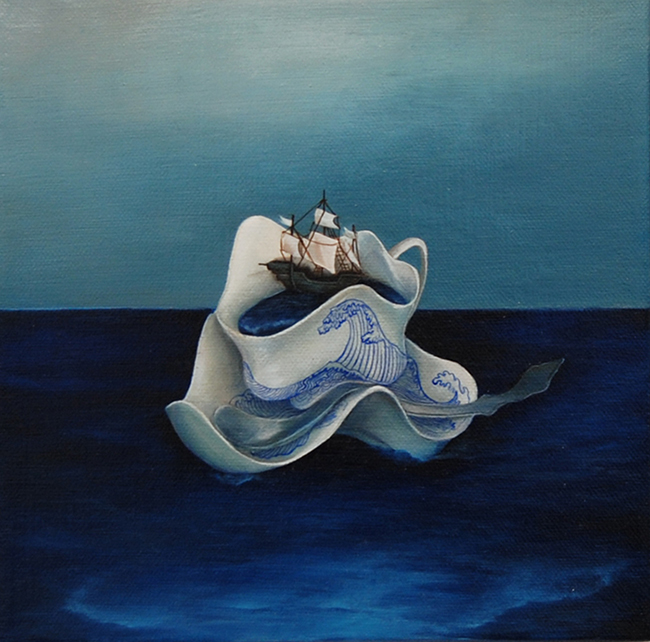 """Stephanie Mercado, Untitled (Tea Cup), 2011, oil on canvas, 9 x 9"""" Private Collection"""