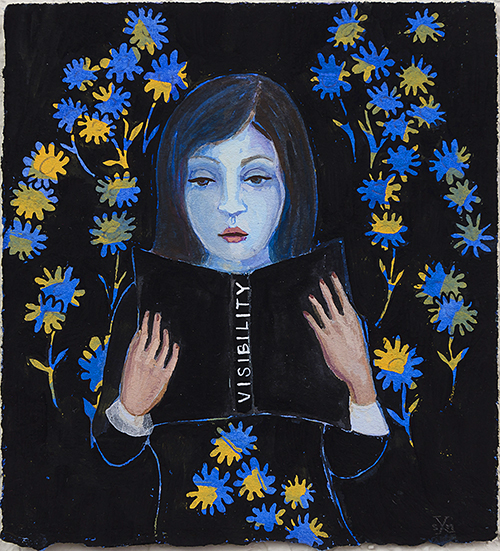 "Stephanie Mercado, Untitled (Visibility), 2017, gouache on paper, 4 x 4"""